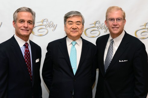 Yang Ho Cho (center) with LAEDC's Lew Horne and Bill Allen