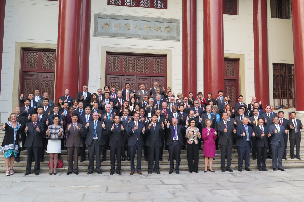 Delegations from Los Angeles, Guangzhou and Auckland join their mayors in celebrating the signing of an historic Tri-partite Economic Cooperation Agreement at Guangzhou City Hall on Nov. 16, 2014