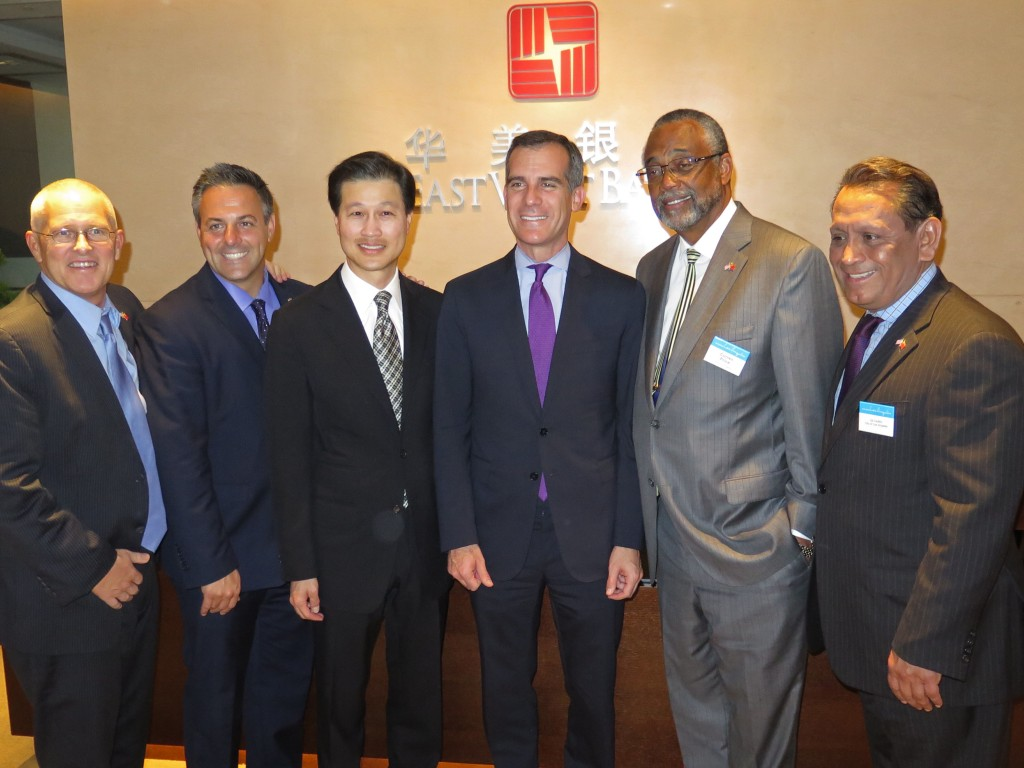City of LA Mayor Eric Garcetti and Councilmembers Bonin, Busciano, Cedillo and Price join East West Bank Chairman and CEO Dominic Ng for the grand opening of East West's new full service branch in Shenzhen.   Nov 18, 2014