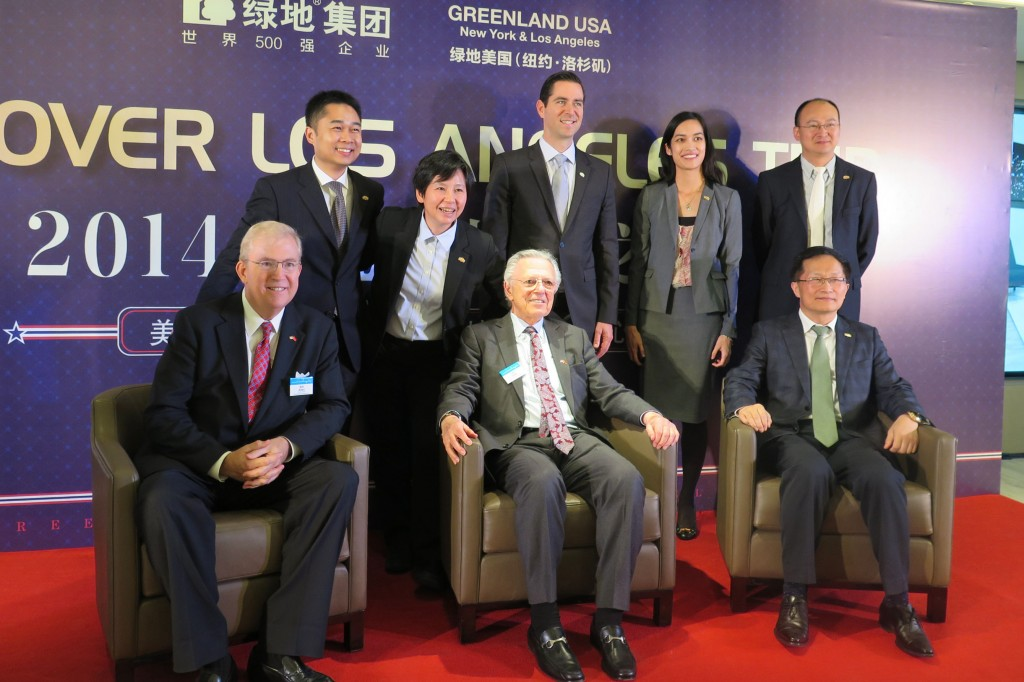 LAEDC CEO Bill Allen and world trade committee co-chair Les Gold celebrate the progress of Downtown LA's Metropolis project with Greenland USA CEO I Fei Chang and her colleagues at their Shanghai headquarters.  Nov 19, 2014