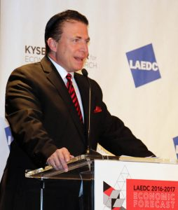 Frank Mottek, the voice of business for Los Angeles, and host of KNX Money Hour was emcee for the Economic Forecast, continuing a longstanding tradition.
