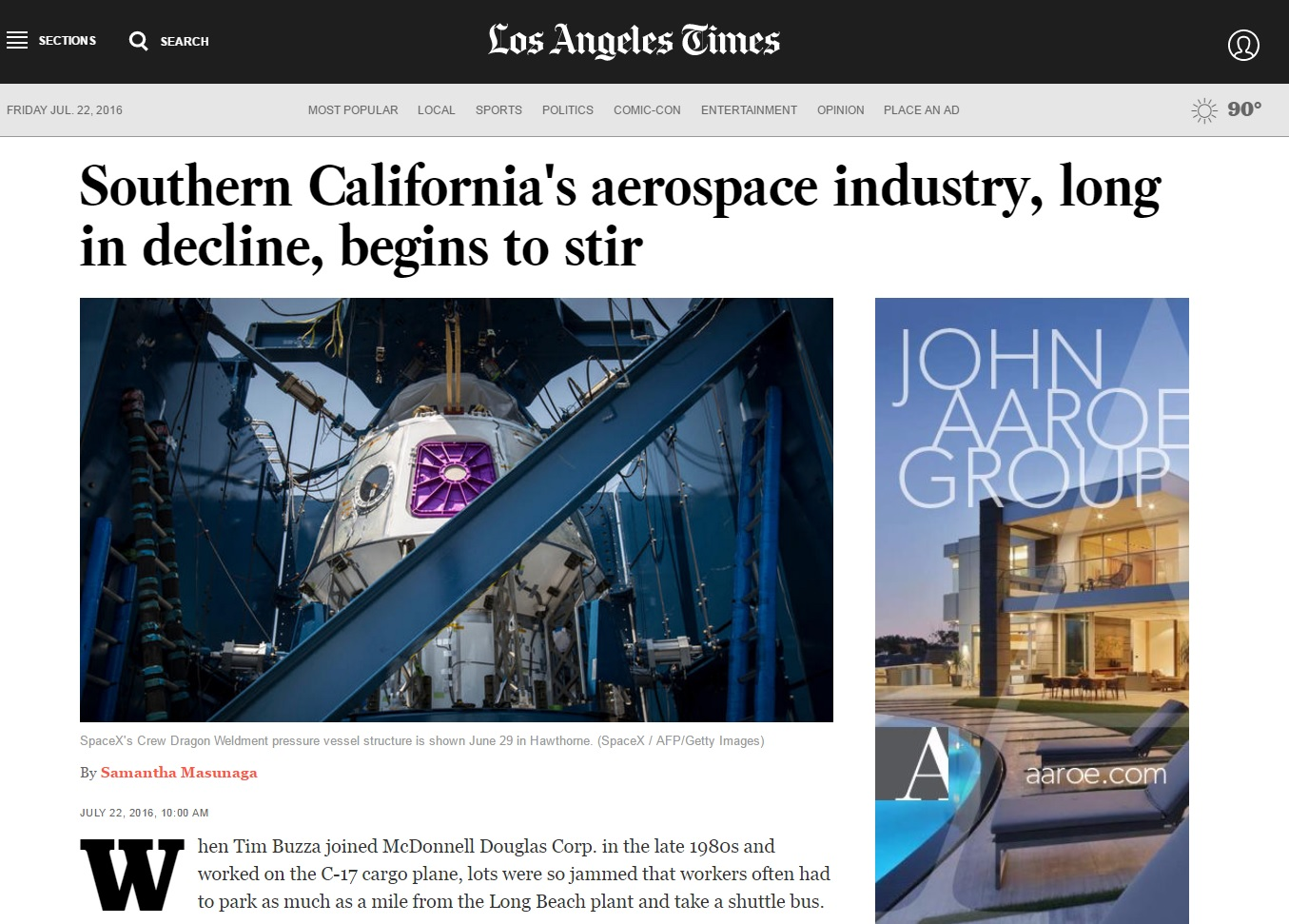 LA Times: SoCal Aerospace Industry Poised to Grow
