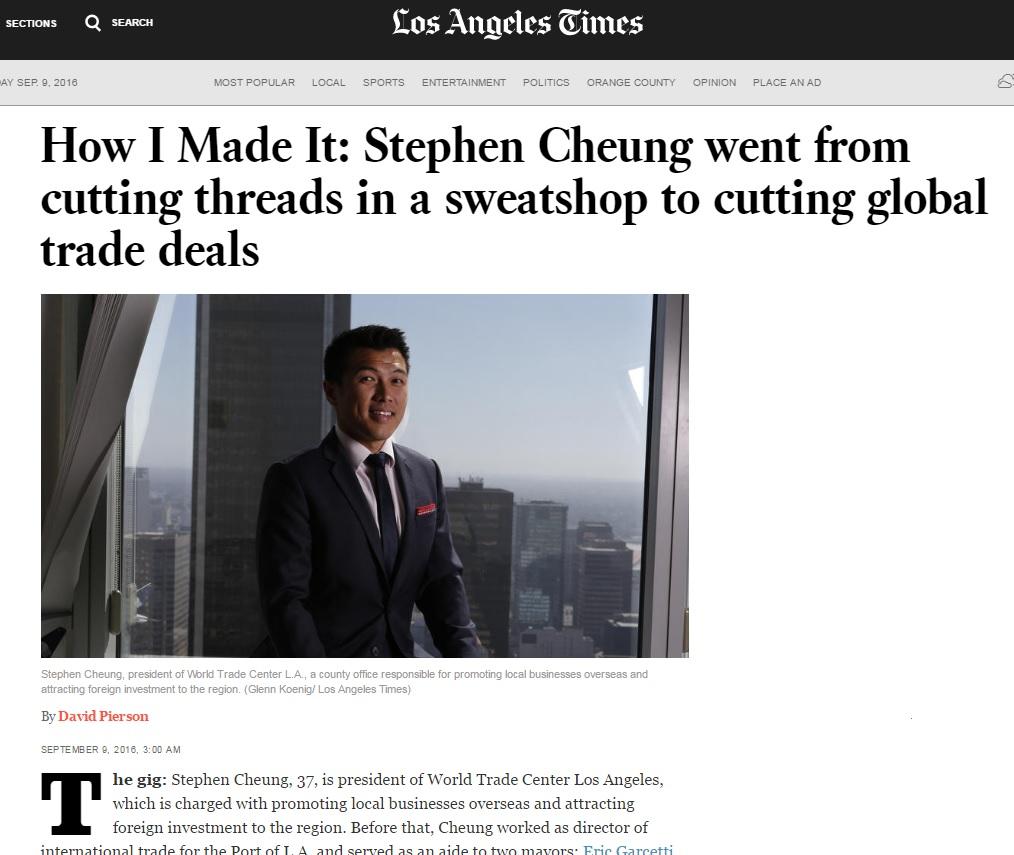 LA Times profiles Stephen Cheung, president of WTCLA