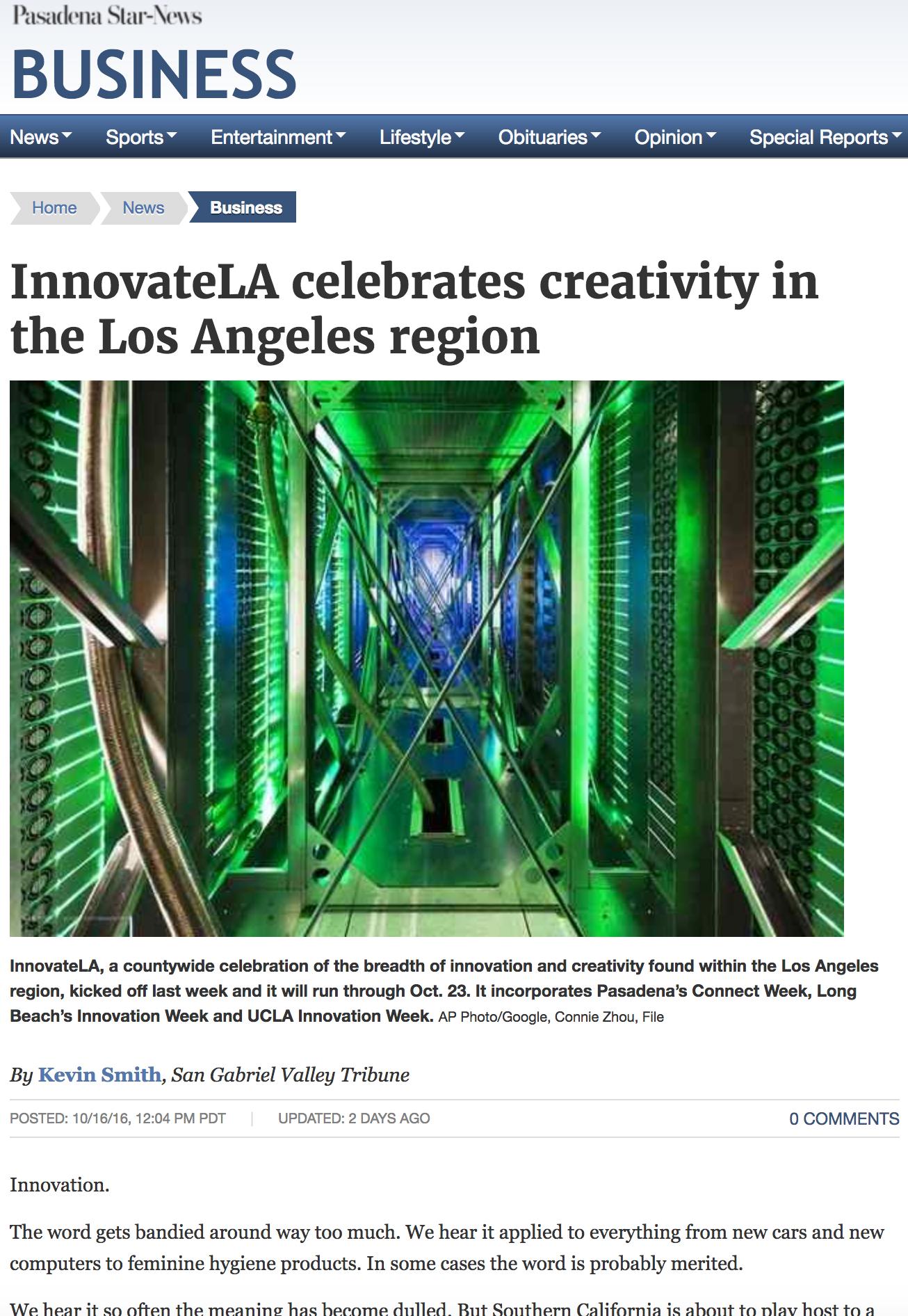 Pasadena Star News: InnovateLA Celebrates Creativity in the LA Region