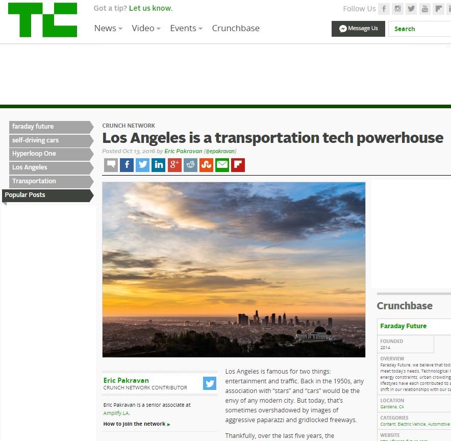 TechCrunch: LA is a Powerhouse in Transportation Technology