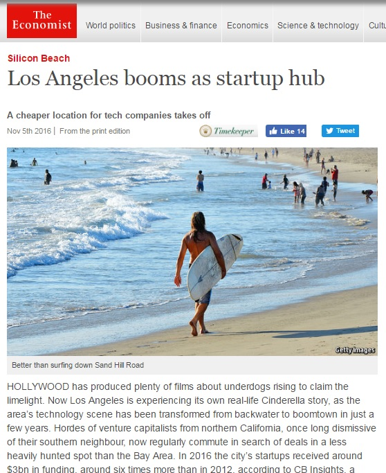 The Economist:  Los Angeles booms as startup hub