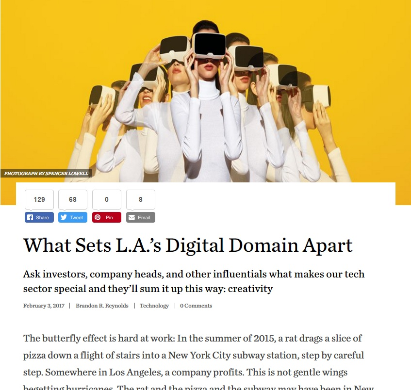 L.A. High Tech Sector Profiled in LA Magazine