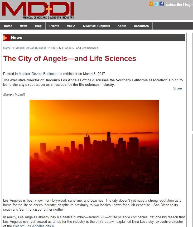 LA's Bioscience Industry Discussed in Article, LAEDC Partner Biocom Ramping Efforts