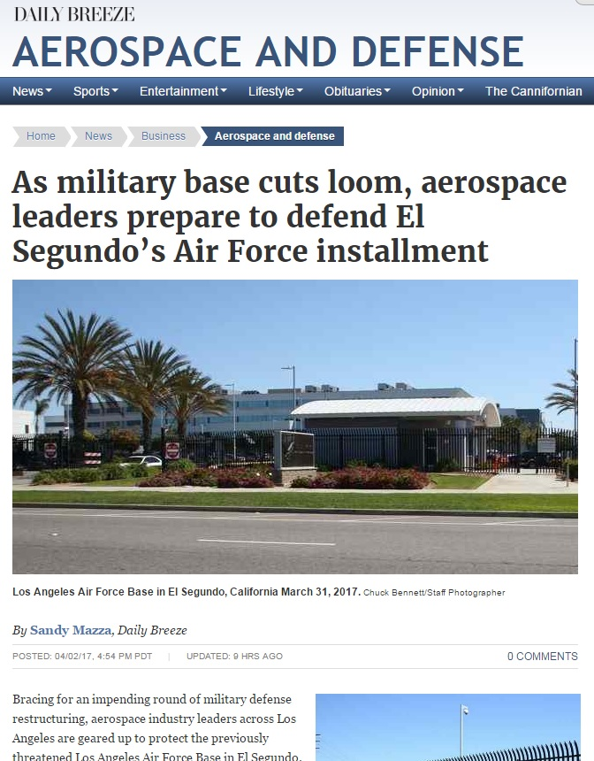 Daily Breeze Talks to SoCal Aerospace Council about LA Air Force Base