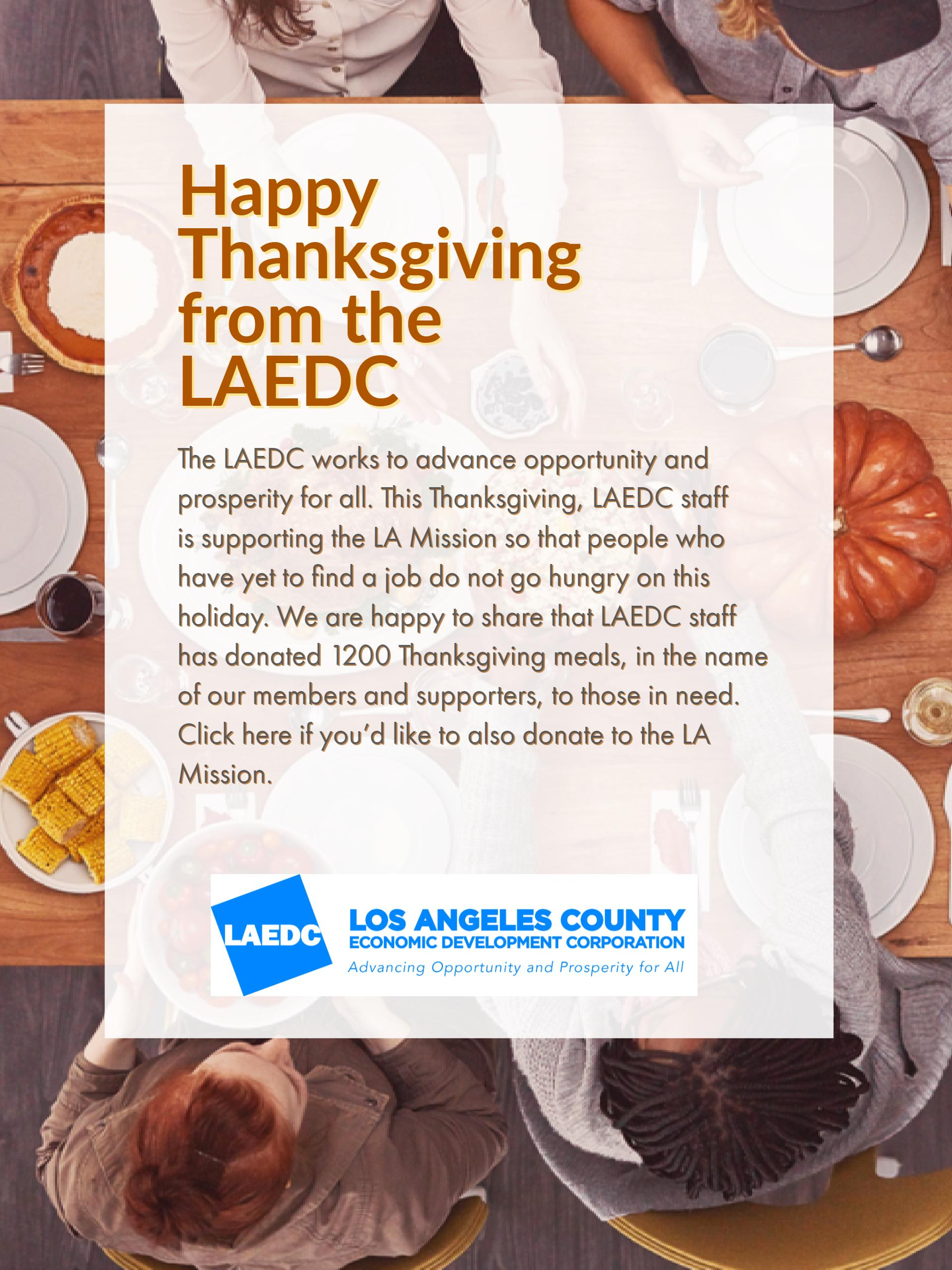 Laedc staff donates to la mission this thanksgiving los angeles laedc staff donates 1200 meals to la mission for the thanksgiving holiday in honor of our members and supporters forumfinder Choice Image