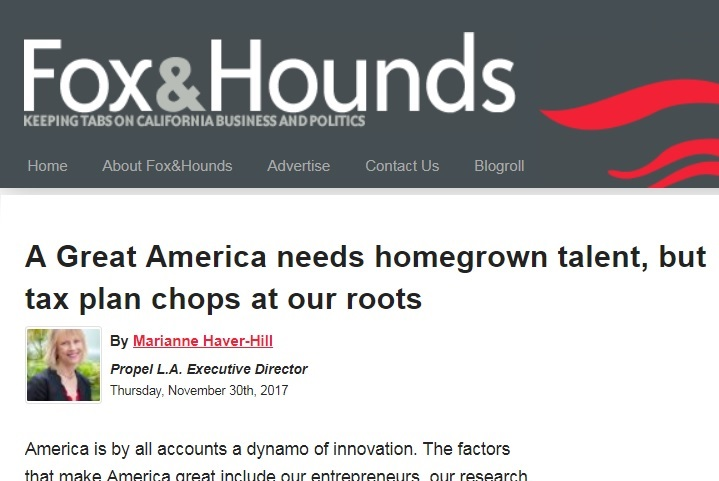 Propel LA:  Congressional Tax Plan Hurts Homegrown Talent