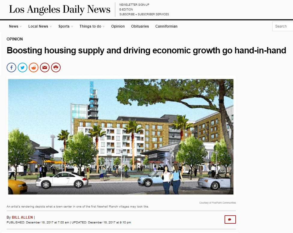 Bill Allen Op-ed:  Housing, Innovation, and Newhall Ranch