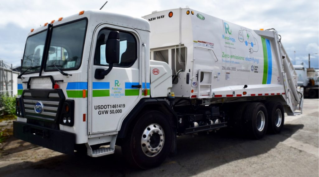 An electric refuse truck manufactured by LA County-based BYD