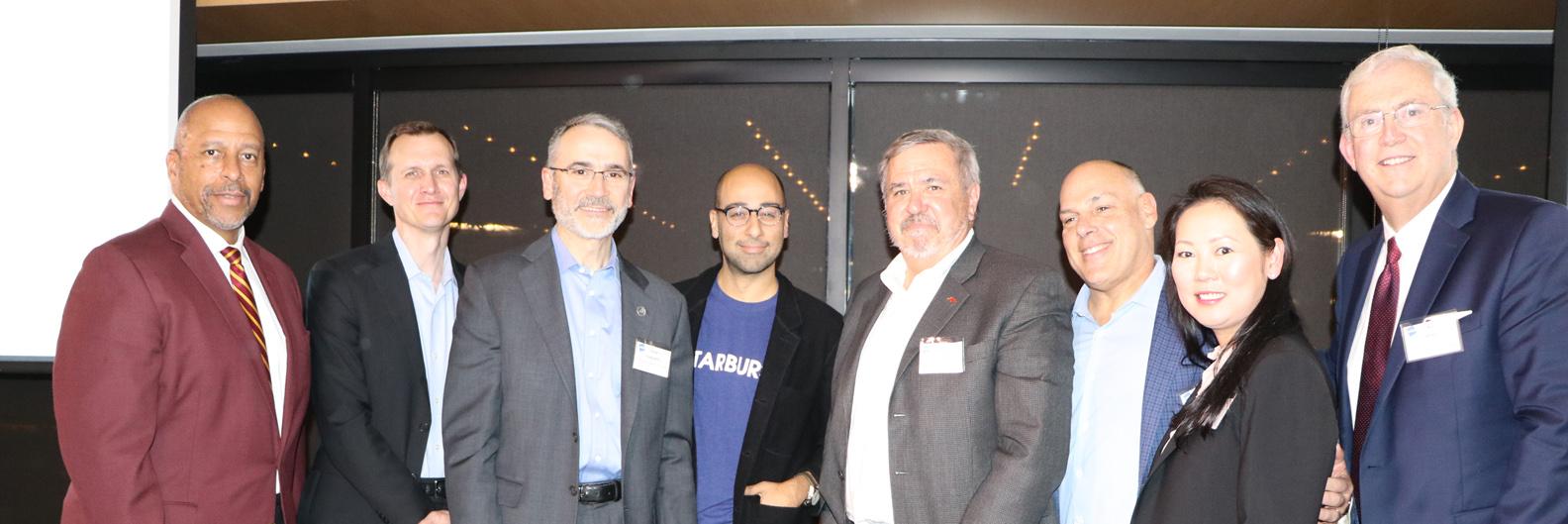 Speakers at LAEDC Future Forum, L to R: Thomas A. Parham, George Whitesides, Steve Isakowitz, Van Espahbodi, Mark Davidson, Paul Russell, Linda Huber, Bill Allen