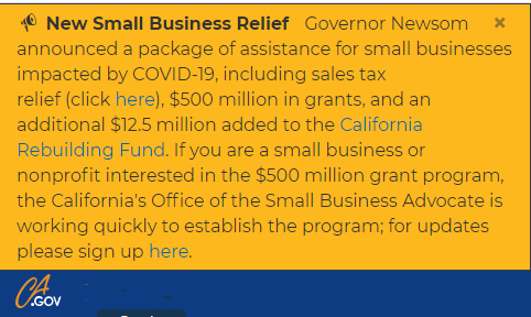 Additional grant money & tax relief available to small businesses from CA Rebuilding Fund