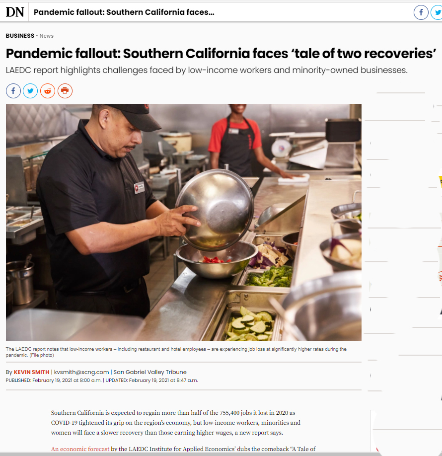 Pandemic fallout: Southern California faces 'tale of two recoveries' – LAEDC Economic Forecast in LA Daily News, 10 sister newspapers