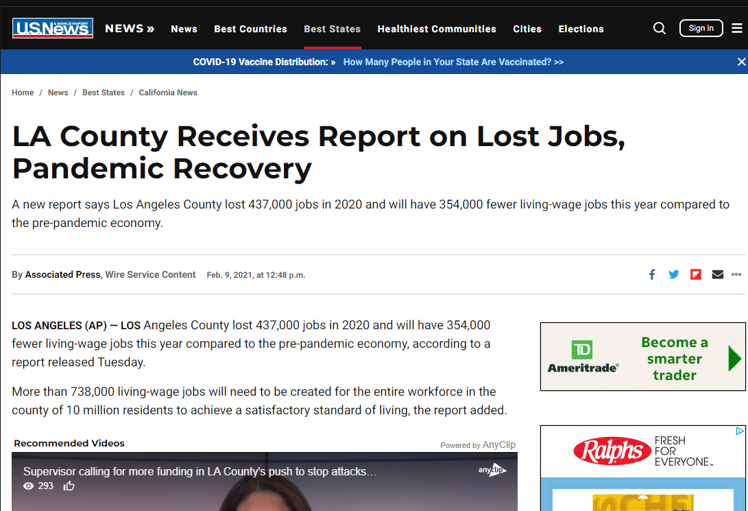 US News & World Report: LA County Receives Report on Lost Jobs, Pandemic Recovery (LAEDC Pathways report)
