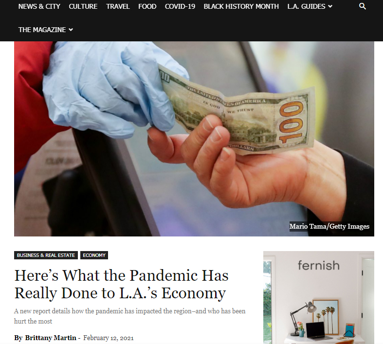 LA Mag: Here's What the Pandemic Has Really Done to L.A.'s Economy (cites LAEDC Pathways report)
