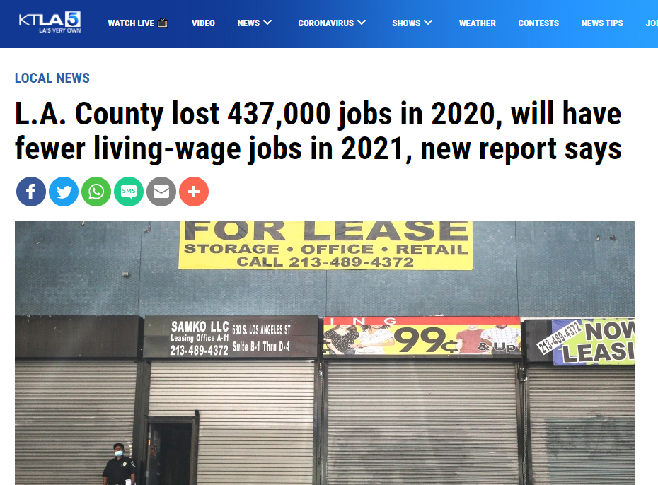KTLA5: L.A. County  will have fewer living-wage jobs in 2021 (LAEDC Pathways report)