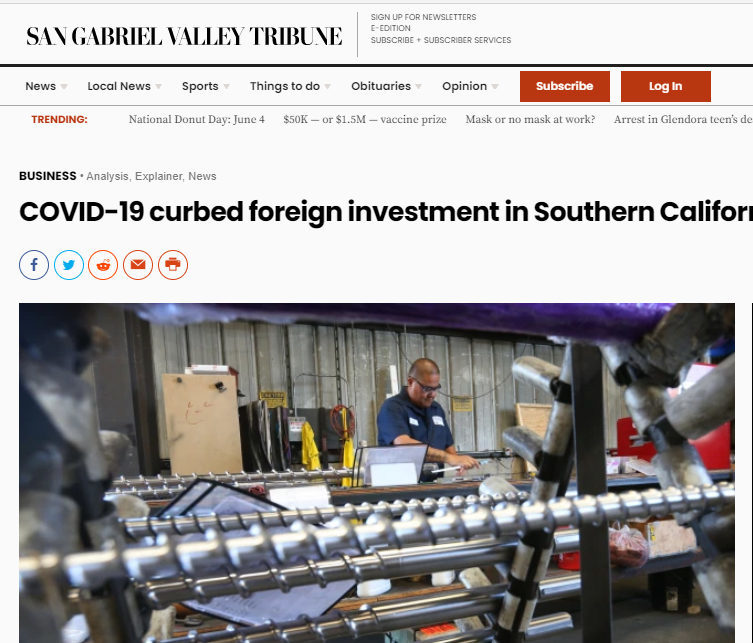 WTCLA & LAEDC report on Foreign Direct Investment covered in 11 newspapers of SoCal News Group