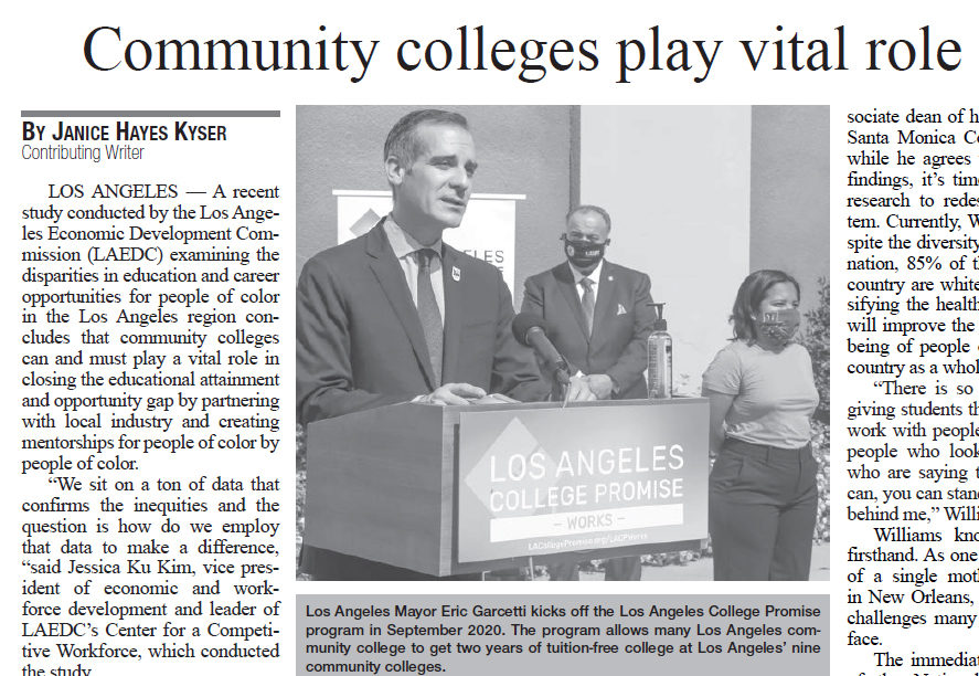 LA Wave article: Community colleges play vital role in minority communities