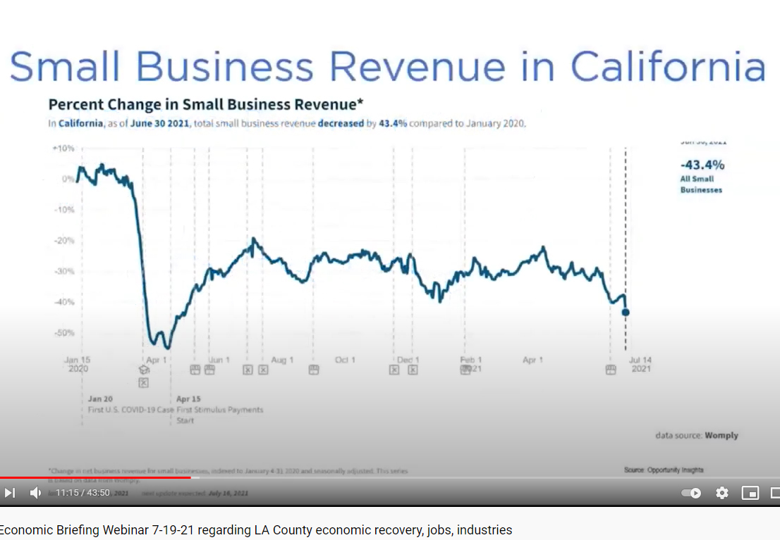 LAEDC Economic Briefing from July 19:  Small business revenue still far below pre-pandemic level